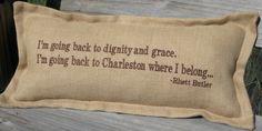 """Back To Charleston"" Pillow: Beach Decor, Coastal Home Decor, Nautical Decor, Tropical Island Decor & Beach Cottage Furnishings"