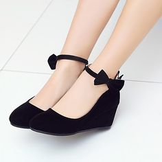 Women s Nubuck leather Spring   Fall Comfort   Ankle Strap Heels Wedge Heel  Round Toe Bowknot f1636da7d9798