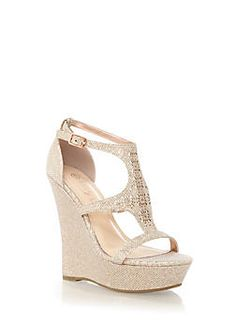 4901ca5ade5 Glitter Perforated T-Strap Platform Wedges