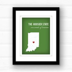 Indiana is home to a lot of interesting people: Abraham Lincoln, David Letterman, Raggedy Ann, and you! Or, well, someone you know... surely you know someone in Indiana, right? Well then, buy them this print! Theyll love you for it. I promise.  ________________________________________________________ GIMME ALL THE DETAILS:  —Print measures 11x14 and has a small white border all around for easy framing!  Please let me know the following: 1. Background Color - Photo 4 shows your color choices…
