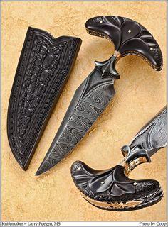 Larry Fuegen custom-made damascus push dagger.