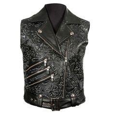 W.PUNKVEST03-C5 Gothic Metal Glamrock mouwloze dames jas gilet met bloemen…