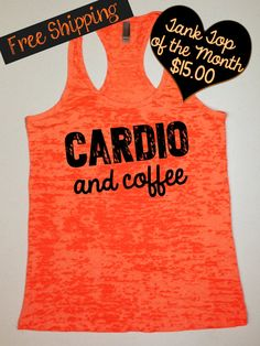 Tank Top of the Month. Cardio and Coffee. Fitness Tank. Crossfit Tank. Workout Tank. Motivational Tank. Gym Clothing. Free Shipping USA on Etsy, $15.00