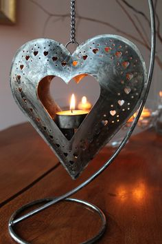Items similar to Metal hanging heart tealight holder & Beeswax Tealight on Etsy Minimalist Candle Holders, Minimalist Candles, Christmas Hearts, Valentines Day Hearts, Christmas Themes, I Love Heart, My Heart, Tea Light Candles, Tea Lights