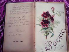 poezie albums Journal Notebook, Altered Books, Childhood Memories, Vintage Antiques, Decoupage, Bullet Journal, Art Journals, Diaries, Notebooks