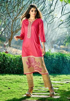 Pink nd cream coloured salwar suit Simple and elegant. ..lotus designed border. ..nice over all