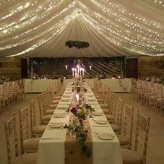 The cow shed marquee at night #fairylights #wedding #crail #thecowshedcrail