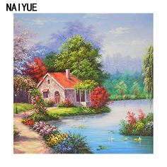 NAI YUE Home Use DIY 5D Diamond painting cross stitch Lake house Round Diamond Embroidery Wall Sticker Mosaic Room-in Diamond Painting Cross Stitch from Home & Garden on Aliexpress.com | Alibaba Group