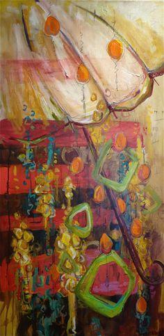"24x48 Mixed Media canvas painting  ""Cherry Limeade Rain"""