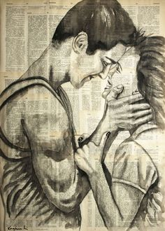 ARTFINDER: Enjoyment by Krzyzanowski Art - Painting: Ink, Charcoal and Pencil on Paper. Size: 70 H x 50 W x 0.2 cm Ink painting on vintage yellow book pages
