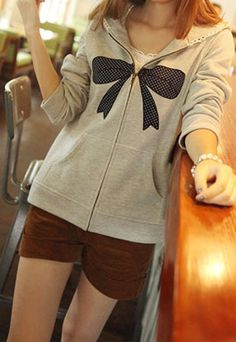 Leisure Dot Bowknot Print Lace Spliced Hooded Sweatshirt  $35.99