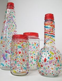 Turn used bottles & jars into colorful centerpieces