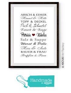 """ABOUKI Traumpaar """"Lustig"""" - Berühmte Paare, personalisierter Kunstdruck - ungerahmt - Fine-Art-Print, Typografie, Poster, Bild, Druck als Geschenk-Idee zum Geburtstag, Valentinstag, Jahrestag, Hochzeit, Heirat, Verlobung, Ehe, Gastgeschenk von der Abouki Art Factory https://www.amazon.de/dp/B01M3YFBW7/ref=hnd_sw_r_pi_dp_-ZL-ybQFAHSPT #handmadeatamazon"""