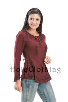 Shop Tesha Gypsy Boho Top In Burgundy Wine: http://holyclothing.com/index.php/tesha-empire-waist-gypsy-embroidered-boho-top-shirt-blouse.html At $24.99. Repins are always appreciated :) #holyclothing #fashion