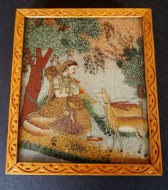 CARVED BOX INDIA Wood Glass Serigraph Silk by MADONNASCOLLECTIBLES