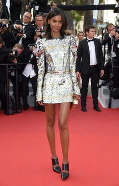 Liya Kebede in a printed Louis Vuitton dress and black heels at the 68th Annual Cannes Film Festival