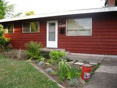 red paint exterior rancher house - Google Search