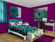 purple and teal room really like the colors the decor not so much purple wall art bedroom teal bedding and bed teal and purple wallpaper Teal Bedroom Decor, Peacock Bedroom, Teal Rooms, Peacock Decor, Bedroom Colors, Peacock Print, Bedroom Ideas, Peacock Bedding, Peacock Colors