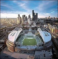 Downtown Seattle and Seahawks stadium (century link field) Seattle Seahawks, Seahawks Stadium, Sports Stadium, Seattle Sounders, Seahawks Football, Sport Football, Seattle Washington, Washington State, Washington Redskins