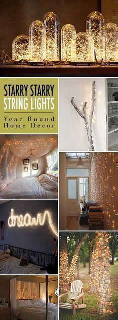 Starry Starry String Lights! • Year Round Home Decor using Christmas lights or firefly lights. • Tons of Tips and Ideas! Bedroom ideas #decor #design #christmaslightstips