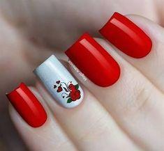 Luxuosas unhas vermelhas, quem ama vermelho também? Anchor Nail Designs, Toe Nail Designs, Love Nails, Pretty Nails, Fun Nails, Nail Art Hacks, Easy Nail Art, Nail Art Printer, Valentine Nail Art