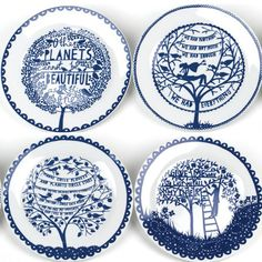 these are way cooler than the 4seasons dishes my mom had when i was growing up Set Assiette, Rob Ryan, Ryan Homes, China Plates, Blue Plates, White Dishes, Ceramic Plates, Decorative Plates, Ceramic Pottery