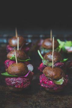 Beetroot & feta cheese patties on mushrooms buns