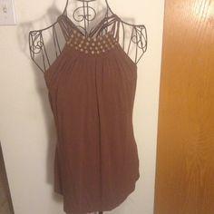 Chocolate caged Michael Kors Deep mocha shade with Woden beading detail and a crisis cross back. Size large Michael Kors Tops Blouses