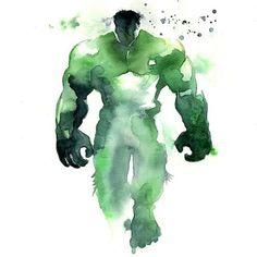 Well, They're No Fingerpaintings: Superhero Watercolors - Hulk