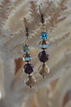 Antique Gold Coppertone and Blue Stone Earrings by CynWear on Etsy, $11.99