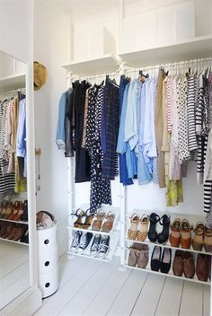 If you don't have a walk-in closet, you can make one using the STOLMEN clothing storage system.