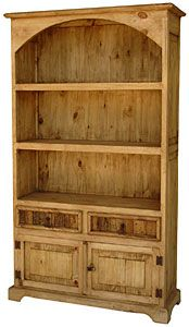 Three+shelves,+two+drawers+and+a+large+cabinet+make+this+southwestern+style+bookcase+essential+for+office,+den,+or+library+...anywhere+you+need+storage+or+display+shelves.+You+can+even+use+this+in+the+kitchen+to+show+off+your+decorative+plates+and+to+store+linens.+This+very+affordable+and+attractive+piece+of+handmade+furniture+is+topped+off+with+a+curved+bonnet.+