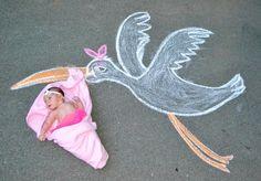 chalk drawing kids photography | Sidewalk Chalk fun art photography! Creative ideas for new baby. Stork ...