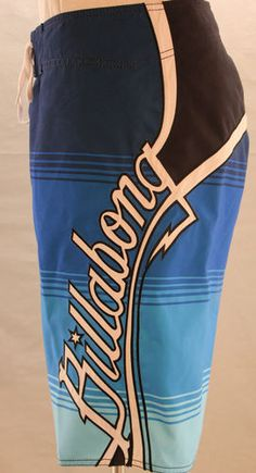 Billabong board shorts in blue, white & black.  The perfect boardshorts for surfing, swimming, casual events or just lounging around the house.