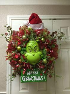 179154823bc9f The Grinch deco mesh wreath by Twentycoats Wreath Creations (2015)