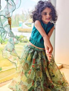 Absolutely Floored By Her Stunning Beauty? For details and colour Cu. Indian Dresses For Kids, Kids Indian Wear, Kids Ethnic Wear, Dresses Kids Girl, Kids Outfits, Kids Dress Wear, Kids Gown, Kids Wear, Baby Frocks Designs