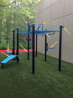 Its here... its ready.. come try it out! Our new T-Rex by MoveStrong is built and ready on our new outdoor artificial turf training area. It has an added adjustable step-up attachment (1), anchor rings for resistance bands & ropes (2), dual-sided medicine ball targets (3), Y-extender for gymnastic rings (4), ab bench (5), adjustable dip station (6), anchor loops for TRX straps or bands (7), and a monkey bar bridge (8). Let us know what you think!