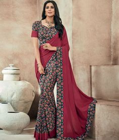 Buy Maroon Crepe Printed Saree With Blouse 73994 with blouse online at lowest…