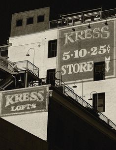 Kress Store Bw By Denis Dube   Artist  Denise Dube   Medium  Photograph - Photography, Fine Art   Description  From the Ghost Signs Series-Old hand painted signs on old buildings.  449 Pine Ave.   Long Beach, CA 90802 #oldsigns #historicalphotography #denisedube