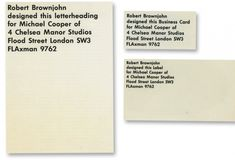 Business card for Michael Cooper by Robert Brownjohn