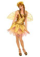 Zauberhafte Waldfee Damenkostüm Elfe gold, aus unserer Kategorie Märchenkostüme. Wenn man durch den Märchenwald wandert, kommt es manchmal vor, dass man dieser wunderschönen Waldfee begegnet. Die meisten sind von ihrem Anblick derart hingerissen, dass sie vergessen, nach einem Wunsch zu fragen. Ein sensationelles Damenkostüm für Karneval und Mottopartys.