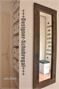 Schuhregal und selfmade Spiegel - shoe rack and mirror from pallets