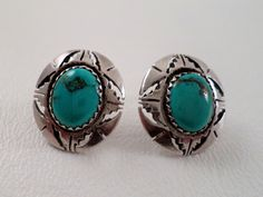 Stud Post Earrings, Turquoise and Sterling Silver, signed Secatero, Navajo Native American, Boho Southwestern Western Wear, ID 260818576 by LaBelleBead on Etsy