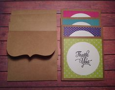 Thank you cards, set of 4 Thank you cards, cards with Kraft paper envelopes, set of 4, mini thank you cards by PinkyPromiseBargains on Etsy