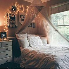 bed, cosy, cute, fairy lights, pics