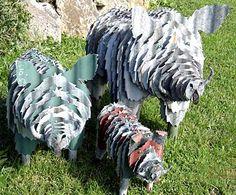 corrugated iron animal sculptures