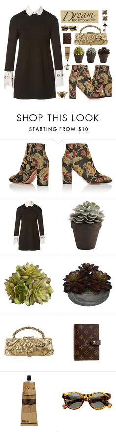 """""""B-O-O-T-S!"""" by tilly-buckler ❤ liked on Polyvore featuring Aquazzura, Alexander McQueen, Pier 1 Imports, Mary Frances Accessories, Louis Vuitton, Aesop, AND B and Hermès"""