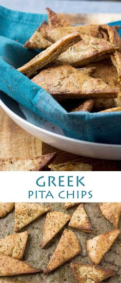 Wholemeal Greek baked pita chips - just 15 minutes to make!