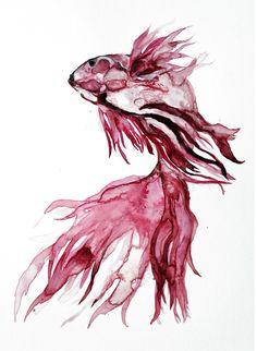 red beta professional giclee art print modern by KianaMosleyArt, $18.00