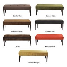Give your home a new look with this fashionable bench. This beautiful bench features fabric upholstery with nail trim and an attractive finish. This ottoman would be a great accent piece, extra seating or a comfortable leg rest for any room.